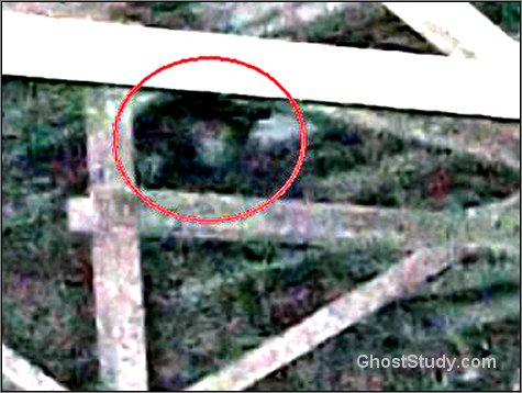 close up ghost in rafters haunted
