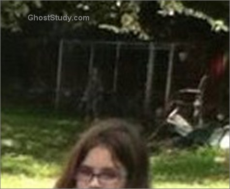 close up of ghost in the backyard