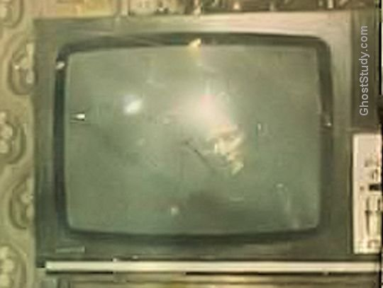 Close-up ghost in TV set